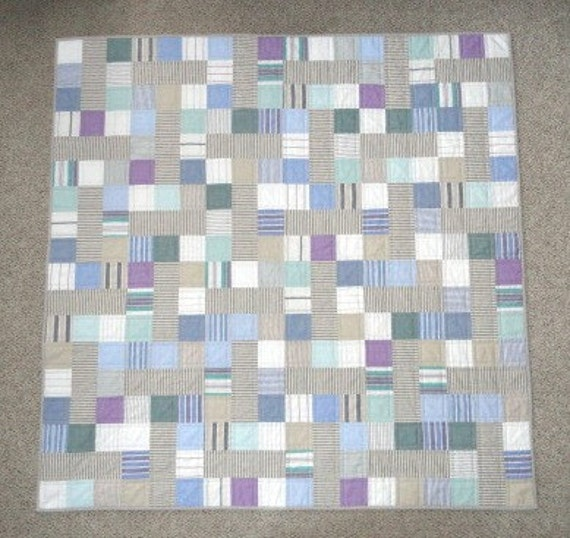 RESERVED FOR SANDD Modern Quilt Vintage Quilt, Baby Quilt, Beach Quilt, Cube Mates pattern, oxford cloth shirts, beach colors, Ready To Ship