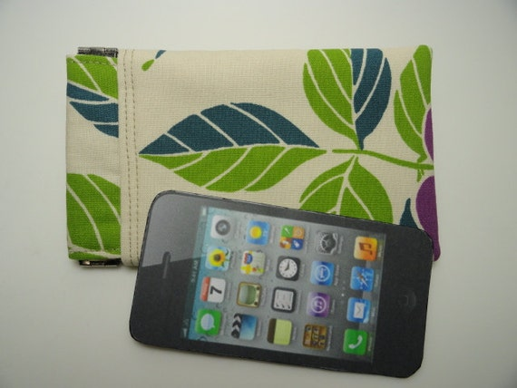 Flex-Frame iPhone Pouch, 5-inch Gadget Pouch, modern leaf print, Ready To Ship