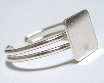 5 Sterling Silver Adjustable Ring Blanks For Dichroic Glass