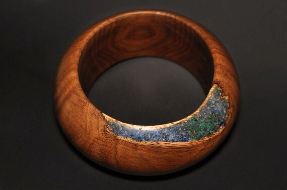 Malachite-Lapis Inlay in Wood bracelet from Indian Rosewood