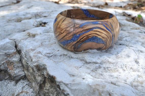 Lapis Lazuli and Olivewood Bracelet