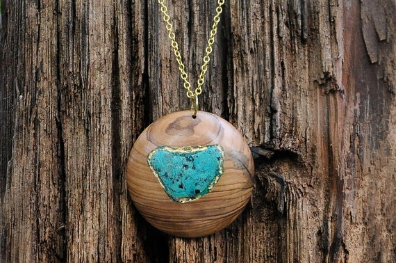 Holiday SALE - Wood Pendant of Turquoise/Eilat Stone and Olivewood