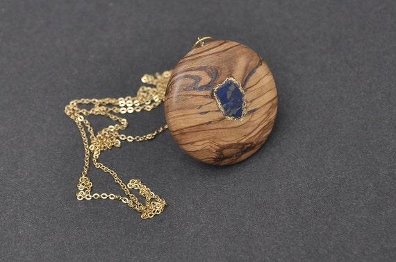 Elegant lapis lazuli and olivewood pendant