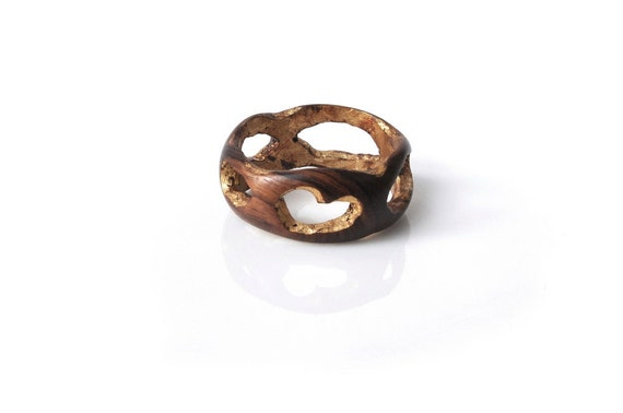 Reserved for R - Wood Bracelet,  Indian Rosewood and Gold Leaf, Light and Strong