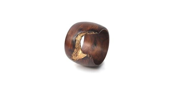 Wood Bracelet, Rosewood and Gold Leaf - Regal Gold