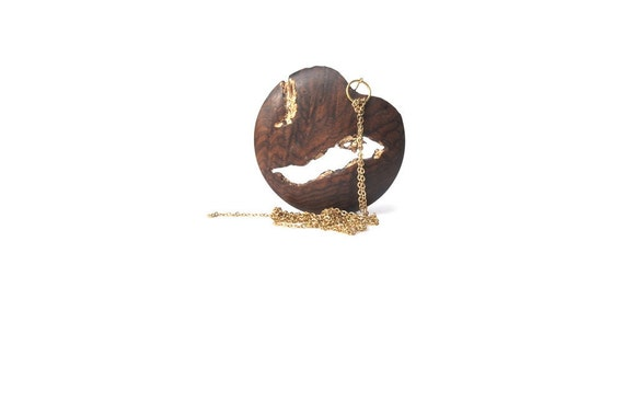 Wood Pendant Rosewood and Gold Leaf (a)