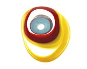 Handmade Lampwork Glass Focal Bead - Jelly Bean - Mystic blue, Yellow, Transparent, Red.