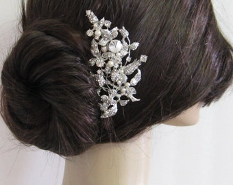 Large crystal hair comb,bridal hair comb, wedding brooch comb, bridal headpiece, bridal hair accessories, wedding pearl hair comb