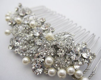 pearl bridal combbridal hair comb crystal and pearlwedding hair accessoriescrystal