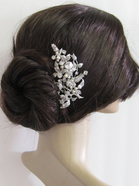 ,bridal hair comb, wedding brooch comb, bridal headpiece, bridal hair ...