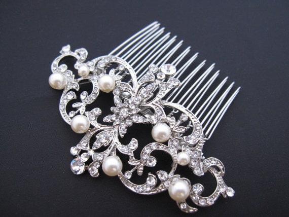 Bridal hair comb wedding hair comb wedding comb pearl hair comb wedding hair accessory wedding hair flower wedding hair jewelry bridal comb