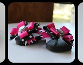 Black, white and Shocking Pink ~  Flip Flops with bows and a bottlecap center