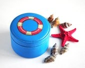 Nautical wooden box - turquoise box for jewelry, navy blue, red, ring buoy, marine, ocean, beach party, nautical wedding - ready to ship