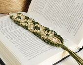 Khaki bookmark knotted netting by hand - green bookmark, rustic, brown, nature, cottage, gifts for kids for him for her man - ready to ship - InsideTheHouse