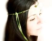 Woodland wedding beaded  crochet boho bridal crown  hair accessories. Green brown, honey