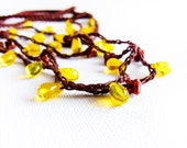 Chocolate  yellow  skinny headband. Hippie crochet  head accessory/ crochet necklace/ teen jewelry