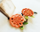 Tangerine wedding. Orange green crochet flower hair clip - pair. Hair accessories for flower girls