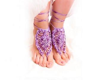 Purple wedding  Barefoot sandals, Ombre Purple beach wedding nude shoes, bridesmade gift ides bottomless shoes