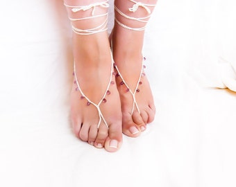 Wedding barefoot sandals Cream white purple drops beaded crochet mermaid shoes. Summer beach accessories