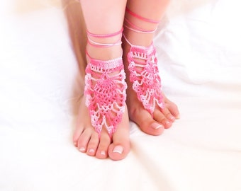 Candy pink barefoot sandals. Beach wedding shoes