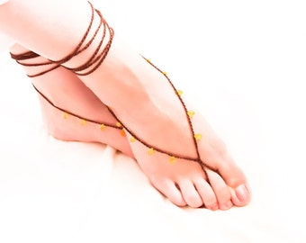 Barefoot sandles Lemon yellow chocolate brown beach footwear, foot thong, belly dance