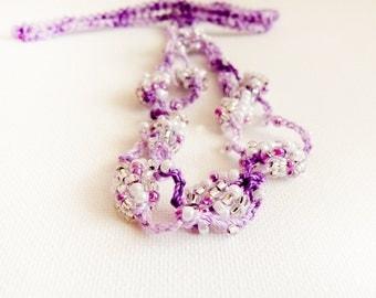 Purple wedding crochet headband  beaded crochet hair piece