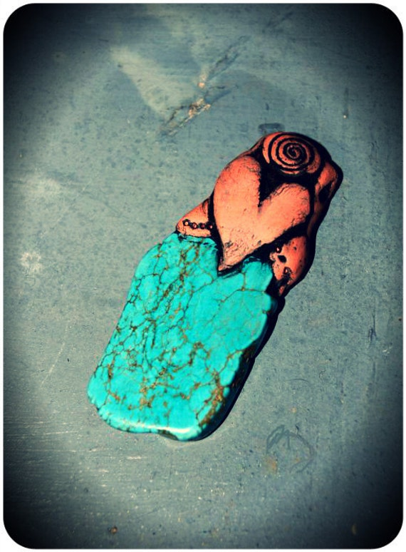Turquoise Howlite Gemstone with Heart Pendant