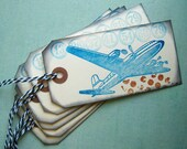 Airplane and numbers handmade gift tags