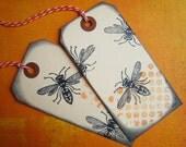 Black bees handmade gift tags