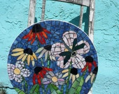 Mosaic Stained Glass Flowers with Dragonfly Round