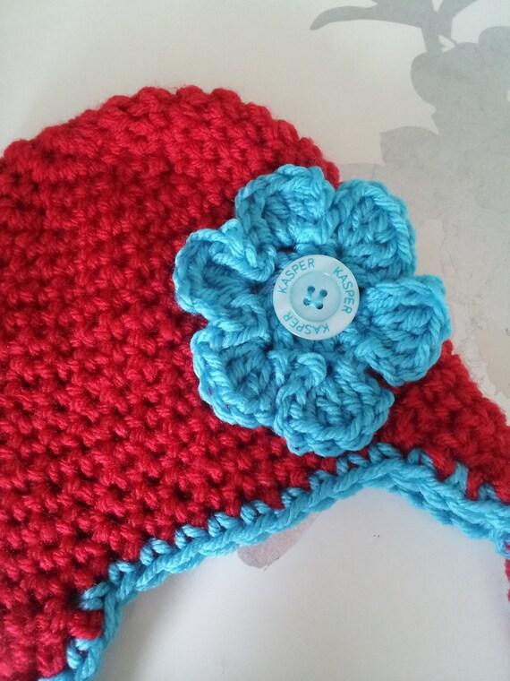 Crochet flower accent hat