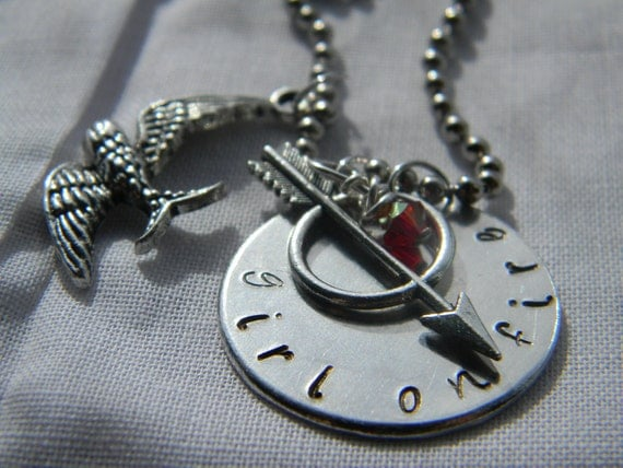 Hunger Games inspired Girl On Fire necklace mockingjay