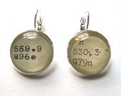 HISTORY - Dewey Decimal Vintage Card Catalog Silver or Brass Lever Back Earrings