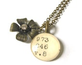 Librarian Necklace Brass Flower with Rhinestone XL Dewey Decimal Pendant