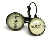 Aldous Huxley Brave New World Recycled Library Card Word Earrings Patina Brass
