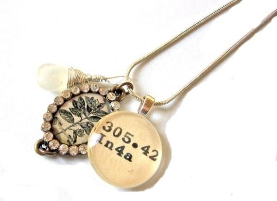 RESERVED - AAA Grade Moonstone and Rhinestone Botanical Charm Dewey Decimal Necklace