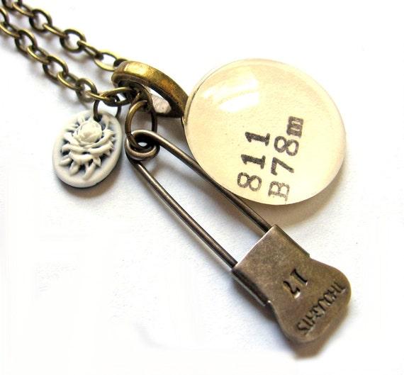 Rose Cameo Dewey Decimal Vintage Card Catalog XL Brass Charm Necklace