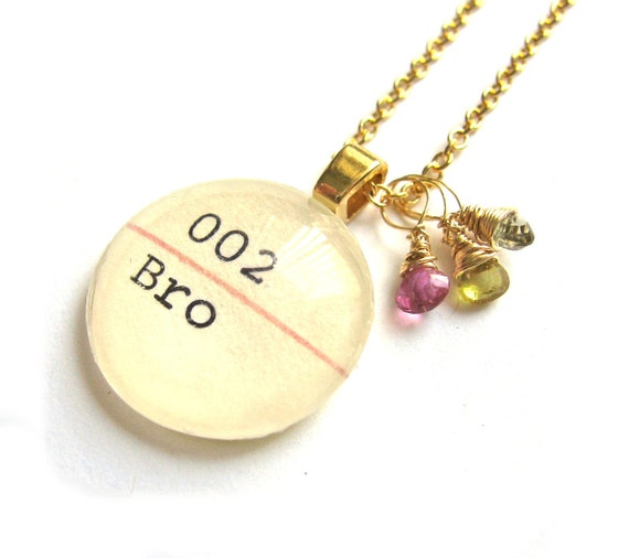 22K Gold Watermelon Tourmaline AAA Grade Dewey Decimal Vintage Card Catalog Luxe Necklace