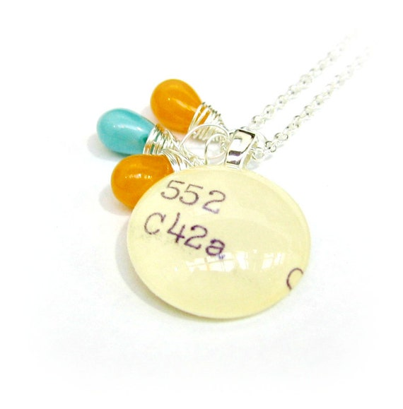 Tangerine and Teal Czech Hurricane Glass Sterling Silver Dewey Decimal Librarian Necklace