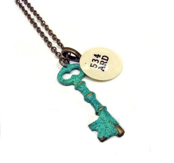 Mint Green Verdigris Skeleton Key Brass Dewey Decimal Librarian Necklace