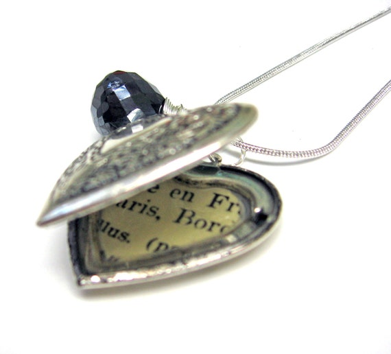 ON SALE Silver Locket and Mystic Black Spinel AAA Grade Paris France French Library Card Necklace