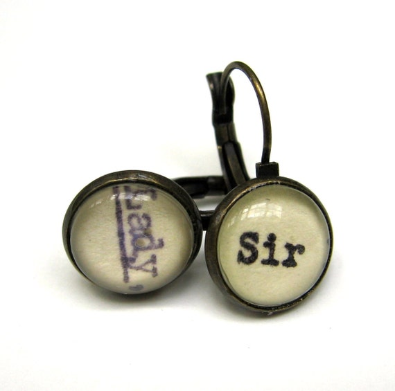 Sir and Lady Recycled Library Card Word Earrings Patina Brass