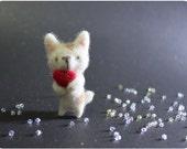 Milky Cat - needle felted wool brooch, crystal bead