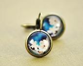Cherry Blossom Earrings / Small Flower Earrings / Spring Wedding Jewellery / Blue Lever Clasp Vintage Style Earrings