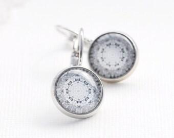 White Flower Earrings -  Wearable Photo Art