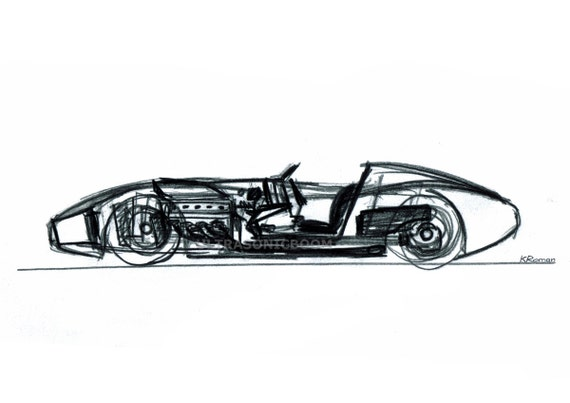 Vintage Racing Car from '60s - Print of my original sketch drawing - 8.3 x 5.8 in (A5)