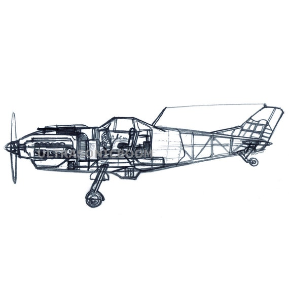 Vintage WW2 Fighter Airplane - Cut Section View - Print of my original sketch drawing - Size 8.3 x 11.7in (A4)