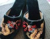 Dragon Embroidered velvet platforms