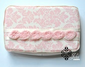 LAST IN STOCK Wipe Case in cream and pink roses... Girly for baby shower present, birthday, accessory.
