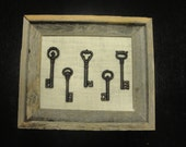 11x13 Barn wood Frame with Keys